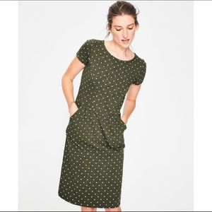 Boden Phoebe Jersey Dress in Green and White